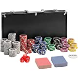 TecTake Poker Set with Chips and aluminium carry case | incl. 2 decks playing cards + 5 dice + 1 dealer badge | -different models- (300 piece | black | no. 402558)
