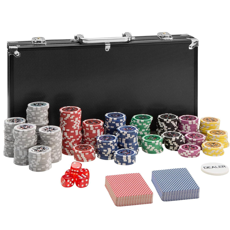 TecTake Maletí n de Pó ker Aluminio con fichas lá ser Poker Chips   Plateado   Incl. 5 Dados + 2 Barajas de Cartas + 1 ficha de Dealer (300 Pieza   Negro   no. 402558) 800446