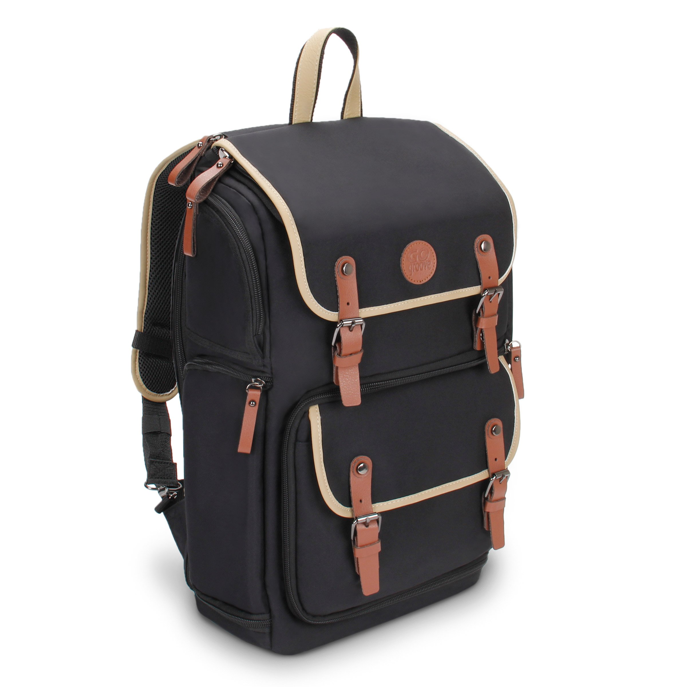 GOgroove Full-Size DSLR Photography Backpack Case (Black) for Camera and Laptop with 15.6 inch Laptop Space, Accessory Storage, Tripod Holder, Long-Lasting Durability and Weatherproof Rain Cover