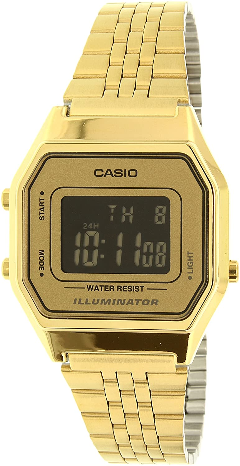 Amazon.com: Casio Ladies Mid-Size Gold Tone Digital Retro Watch LA-680WGA-9BDF: Casio: Watches