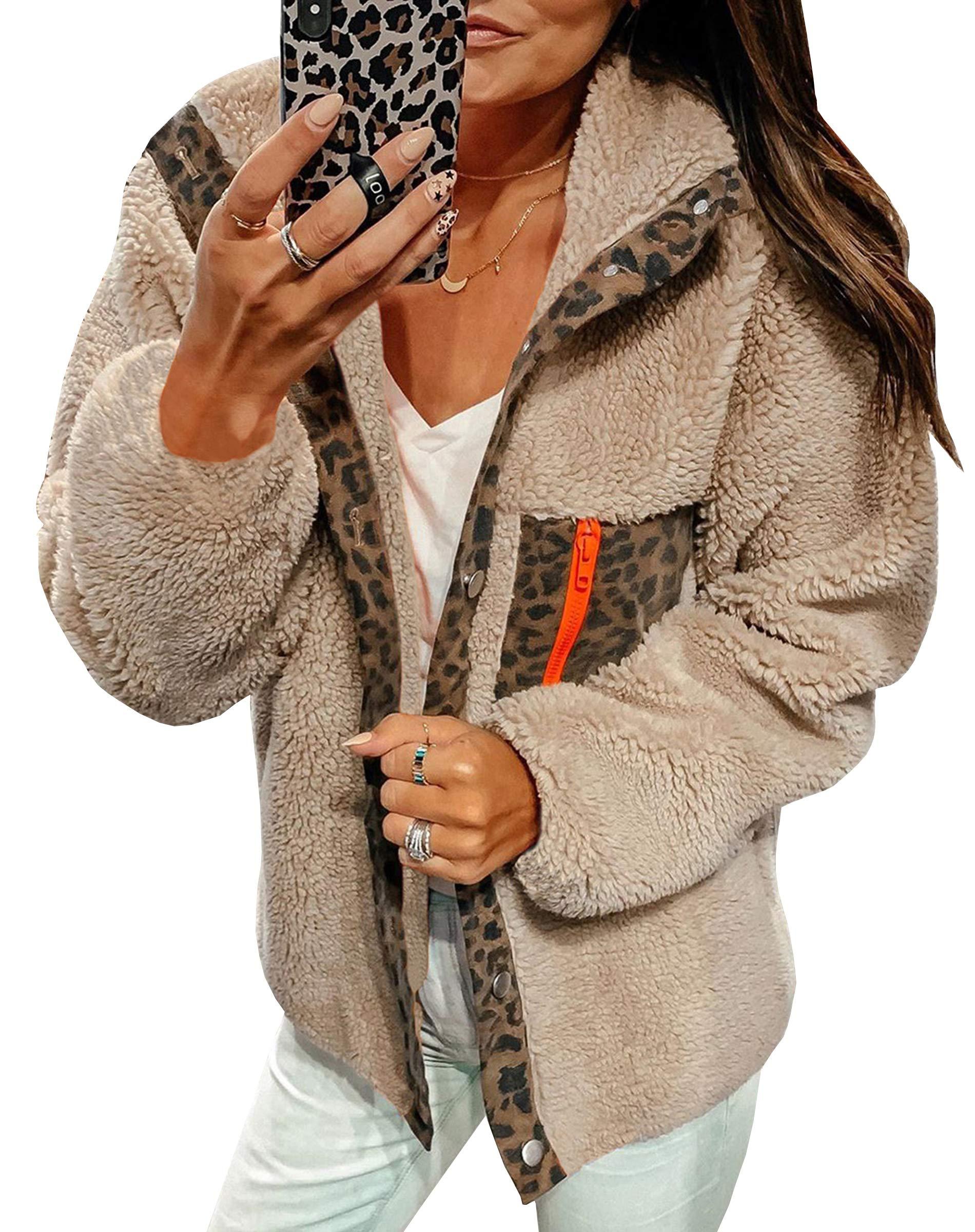 ECOWISH Women Fleece Leopard Coat Long Sleeve Button Down Jackets Winter Lapel Outerwear Beige Large by ECOWISH