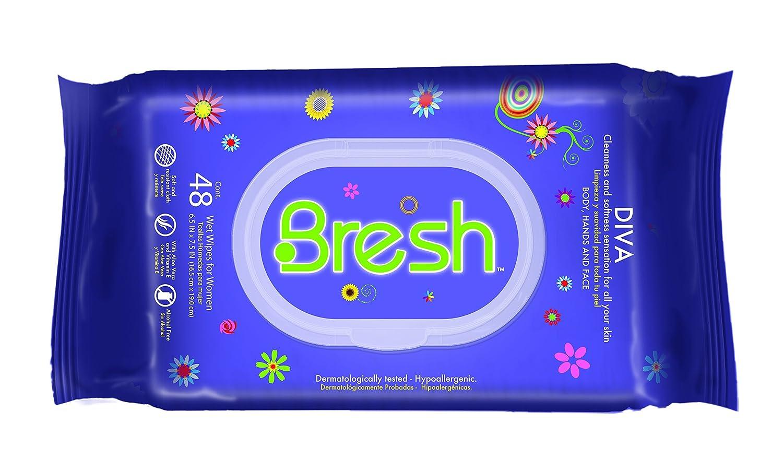 Bresh toallitas para las mujeres - hipoalergénico y PH Equilibrado toallitas húmedas - Ideal después de deportes, viajar, coche, bolso de mano y para ...