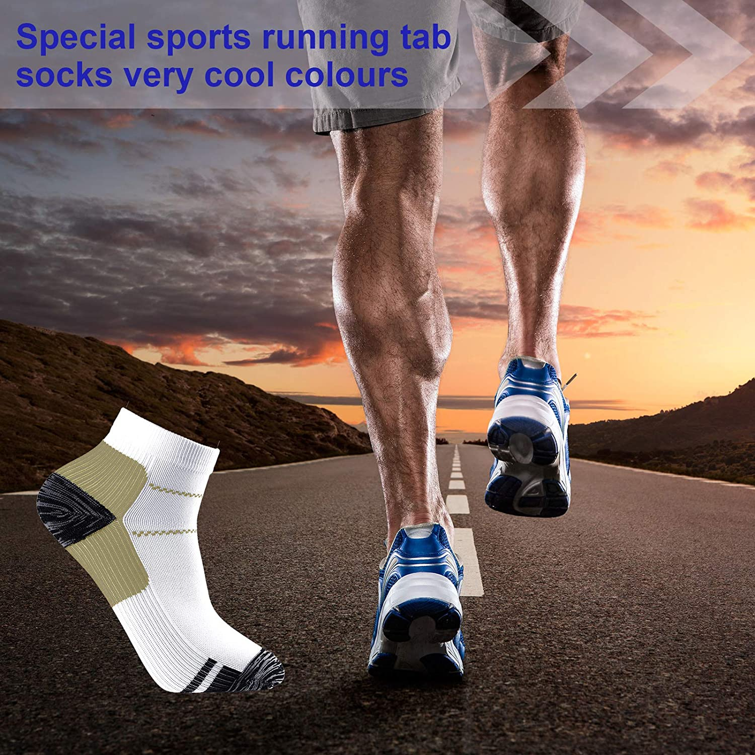 14 Pairs Ankle Compression Socks Arch Ankle Support Socks Compression Athletic Crew Socks for Running Cycling Outdoor Sports