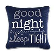 Wendy Bellissimo Super Soft Square Decorative Pillow + Throw Pillow (11x11) Nursery Décor - Good Night Sleep Tight in Navy and White