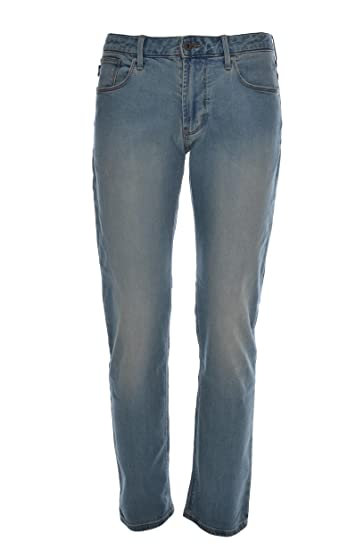 da0e93139f Emporio Armani Mens J06 Jeans, Slim Fit Stretch Cotton Light Whisker ...