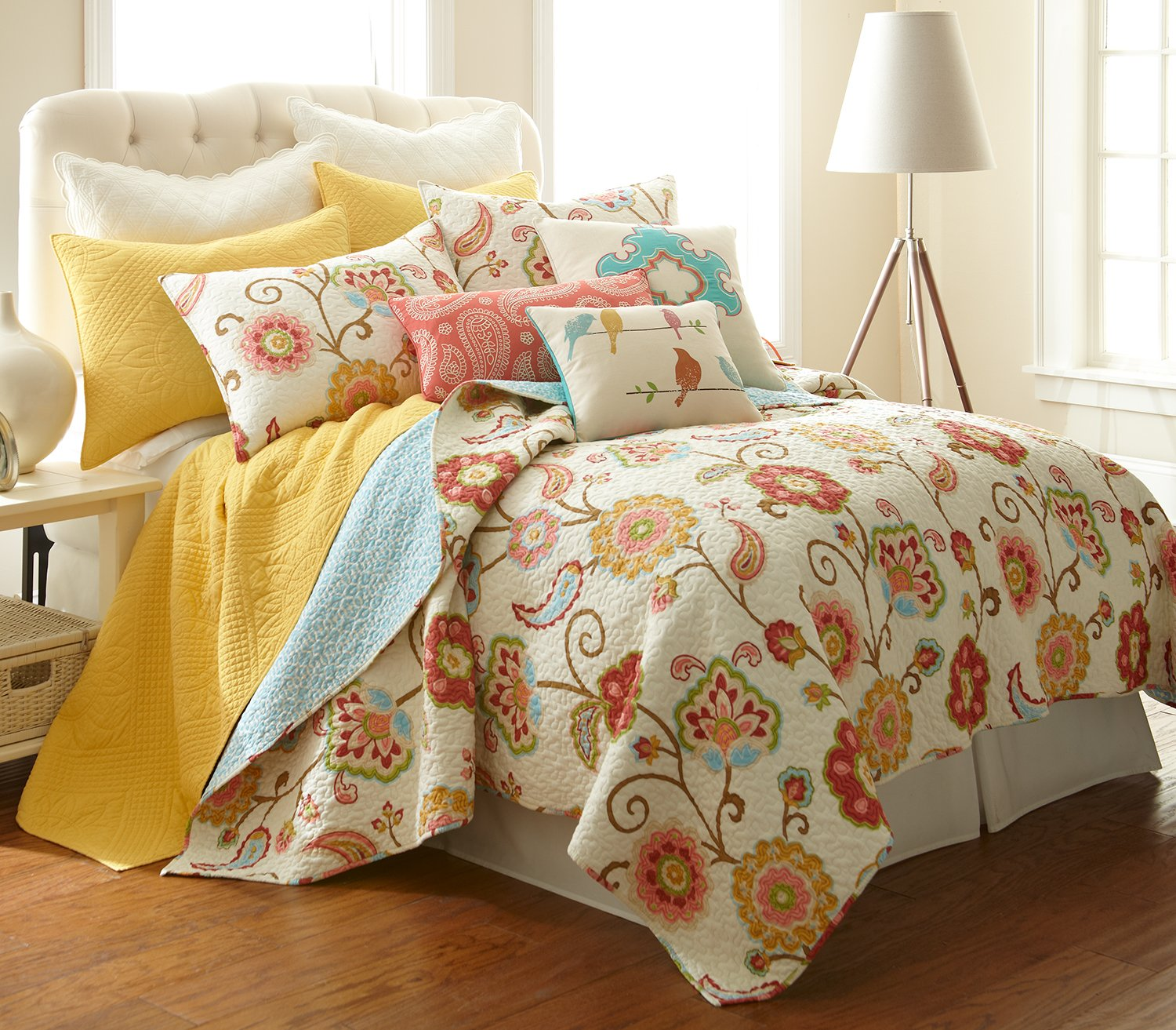 amazoncom ashbury spring king quilt set home  kitchen -