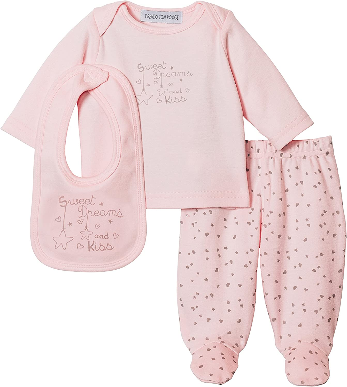3 Pezzi Prends ton pouce Pigiama Tutina Bebe di Prema a 6 Mesi Cotone Rosa Pallido