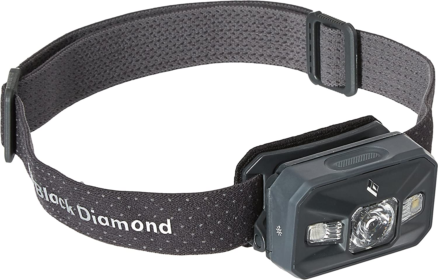 This is an image of the Black Diamond Storm headlamp, gray color, with lamp attached to its band, on a white background.