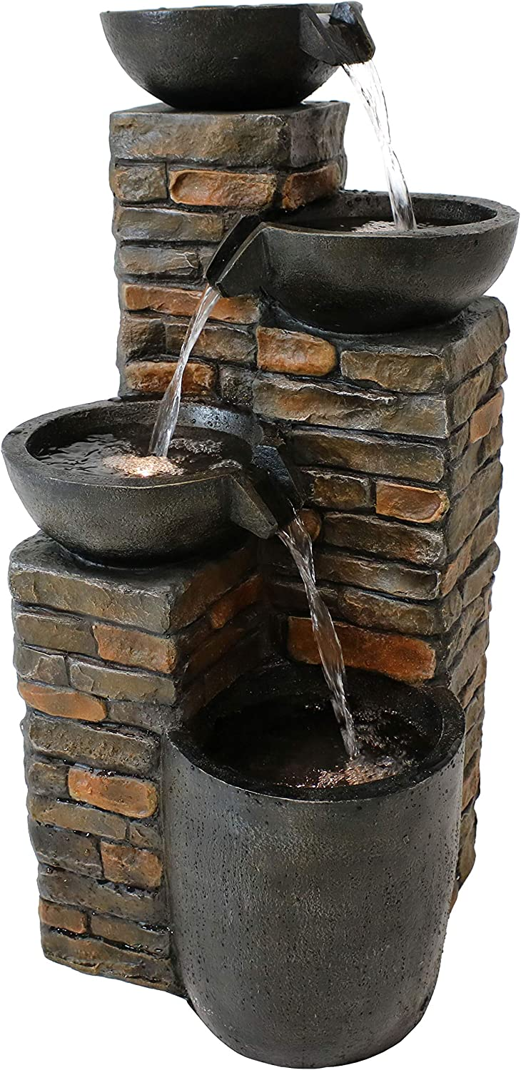 Sunnydaze Outdoor Water Fountain -Staggered Pottery Bowls - LED Lights - Perfect for Garden, Patio, Yard or Porch - Cascading Tiered Waterfall Feature, 34-Inch Tall