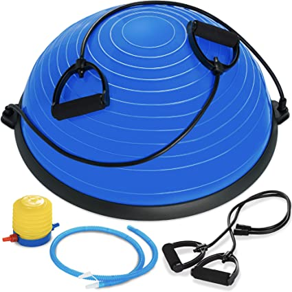 with Resistance Bands Pump for Home Gym Core Training Blue Yoga Ball Exercise Balance Stability Trainer Hihone 23 Half Ball Balance Trainer Fitness Strength Exercise Workout