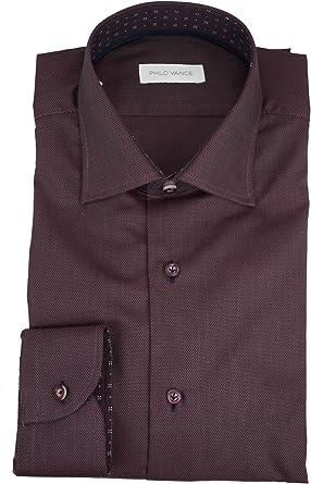 El hombre de la camisa de color Burdeos con Tela de Tejido de Philo Vance - Ravarino: Amazon.es: Ropa y accesorios