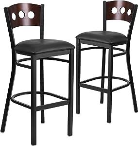 Flash Furniture 2 Pk. HERCULES Series Black 3 Circle Back Metal Restaurant Barstool - Walnut Wood Back, Black Vinyl Seat