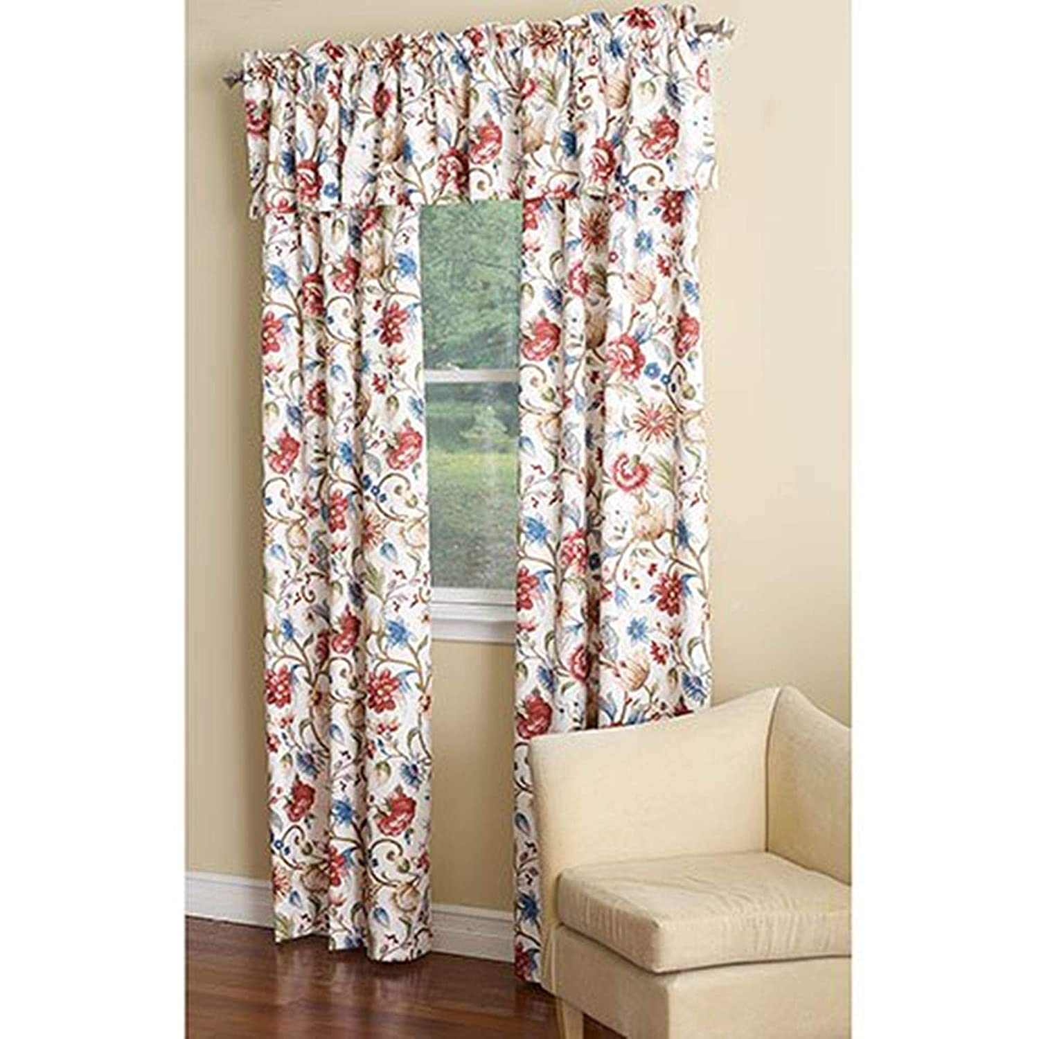 Ellis Curtain Cornwall Jacobean Floral Thermal Insulated Tailored Valance, 80 by 15-Inch, Multicolor 730462112415