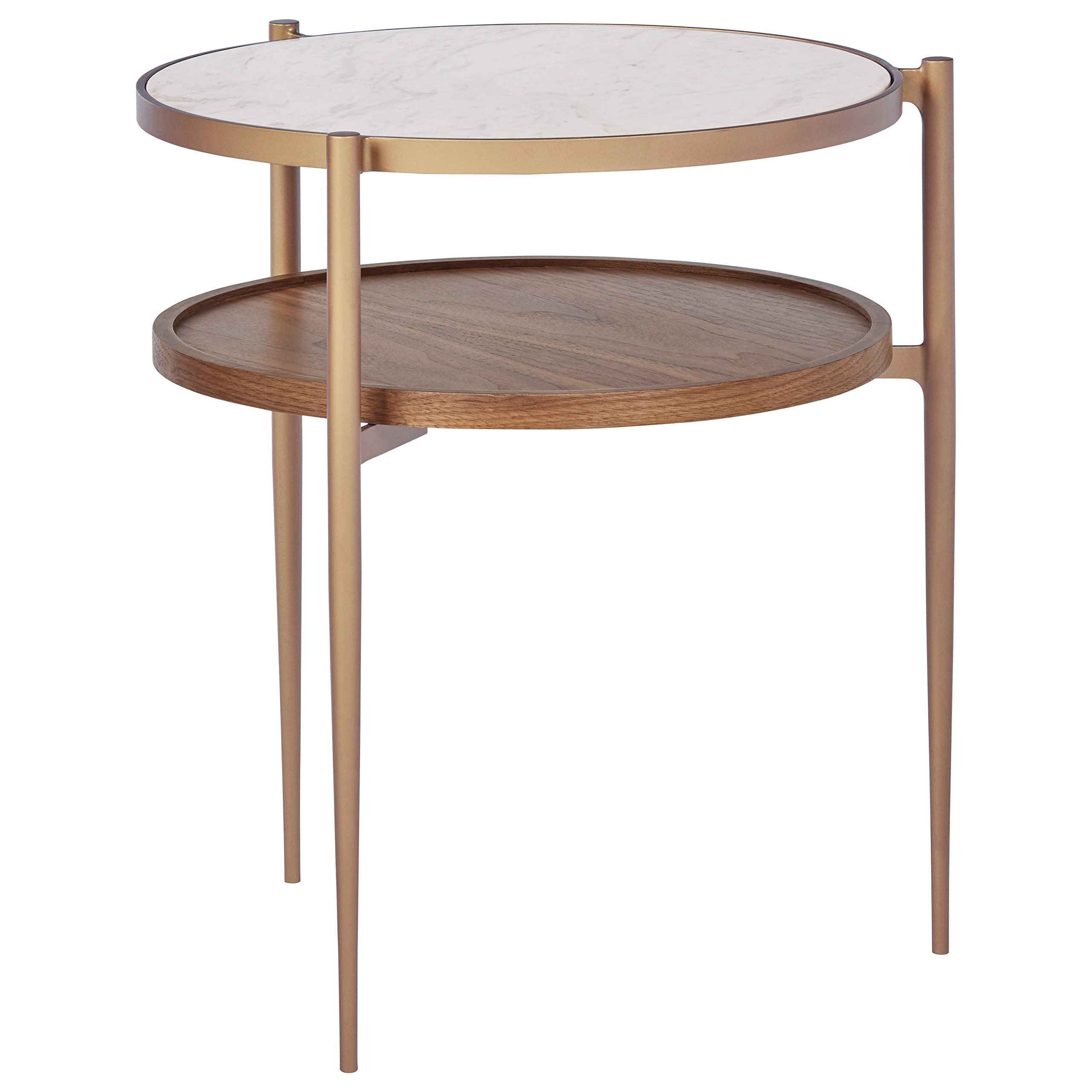 Rivet Modern White Marble and Wood Double Storage Wood Shelf Side End Table, 21.3''H, White/Brass/Walnut by Rivet