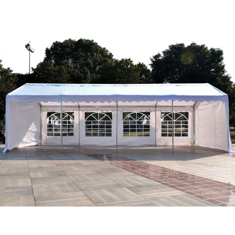 Outsunny Gazebo da Esterno Tendone per Feste Matrimonio Telaio in Acciaio Bianco 6m x 4m x2.8m