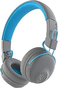 JLab Audio Studio Bluetooth Wireless On-Ear Headphones | 30+ Hour Bluetooth 5 Playtime | EQ3 Sound | Ultra-Plush Faux Leather & Cloud Foam Cushions | Track and Volume Controls | Gray/Blue