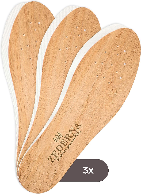 Zederna Cedar Wood Shoe Insoles for Men & Women, 3 Pairs of Foot Odor Eliminator Inserts, Highly Effective Shoe Odor Remover, Against Sweaty Feet. Natural Cedar Soles, Foot Deodorant, 14 Sizes