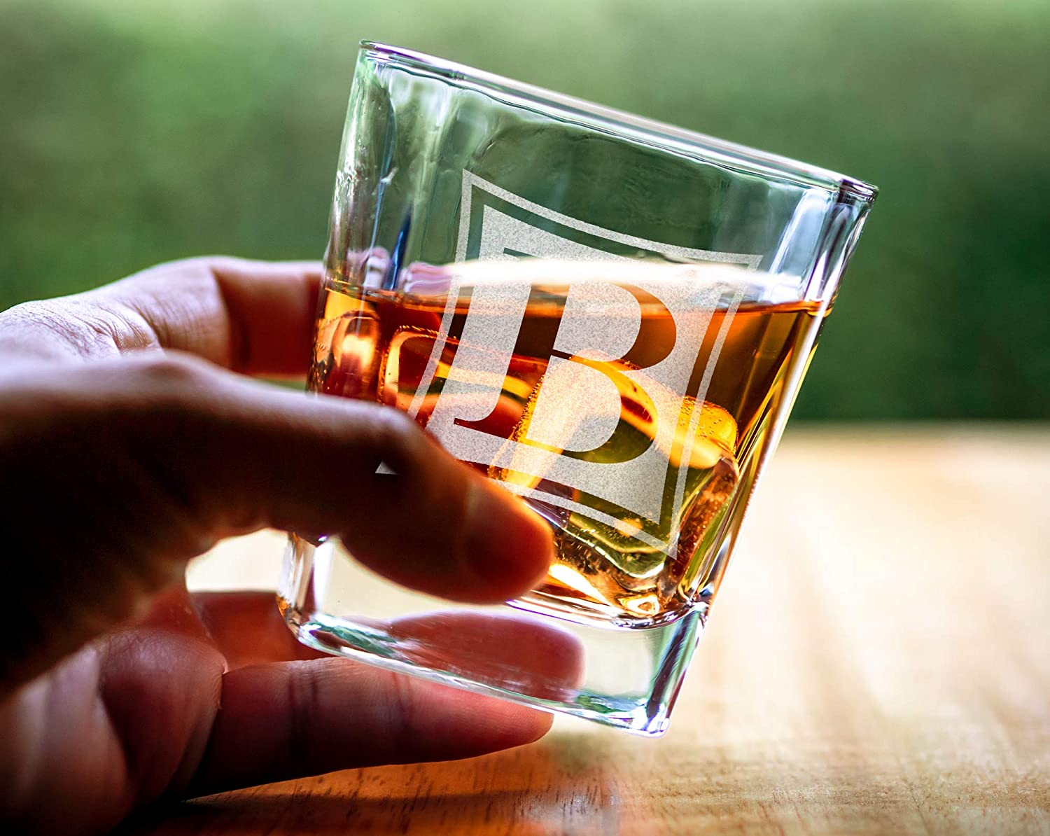 Custom Whiskey Monogram Wreathe Bourbon Rock Glasses Engraved Scotch Glass for Dad Birthday Fathers Day Gift Groomsmen Husband Wedding Gifts for Her