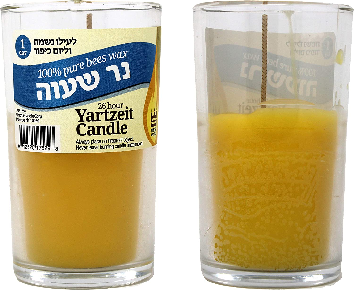 RAMBUE 24 Hour Pure Beeswax yartzeit Candle in Glass jar - Religious Memorial and yom kippur yizkor Kosher Wax Candles 2 Pack