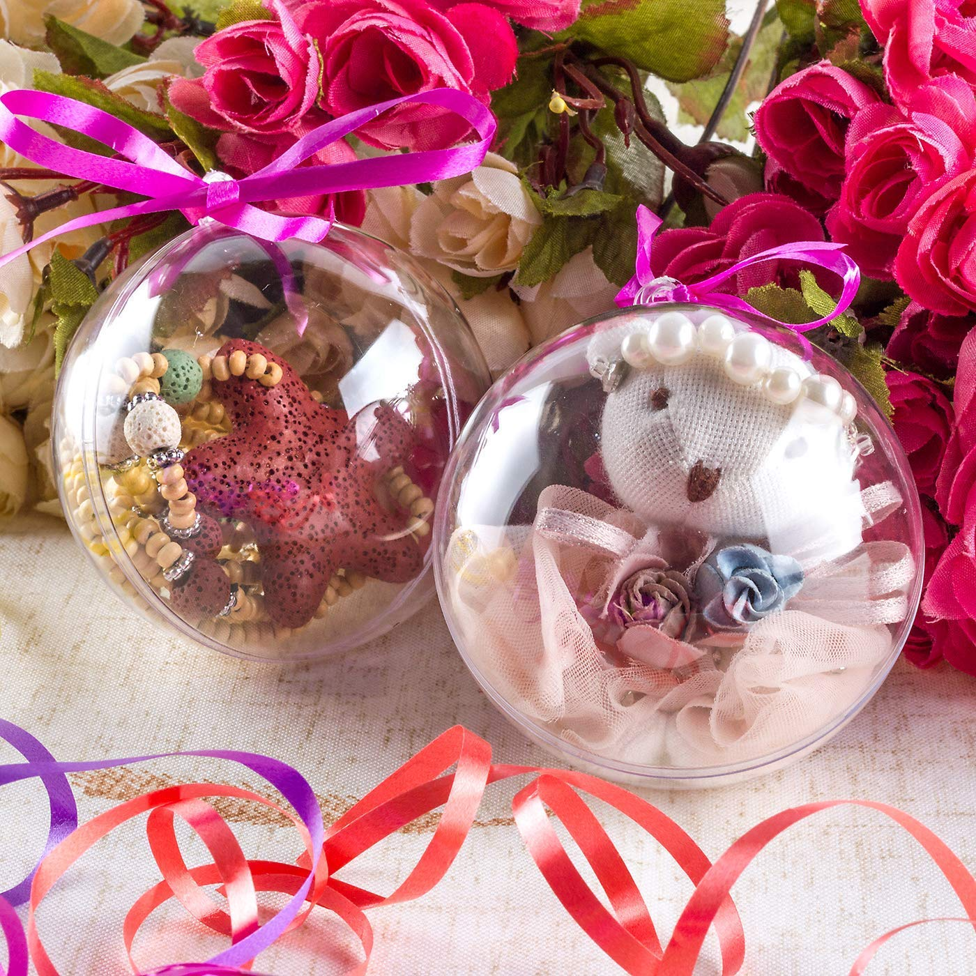 salare 10pcs Clear Fillable Ornaments Ball 80mm Plastic Craft Ornaments for Christmas Tree Decor