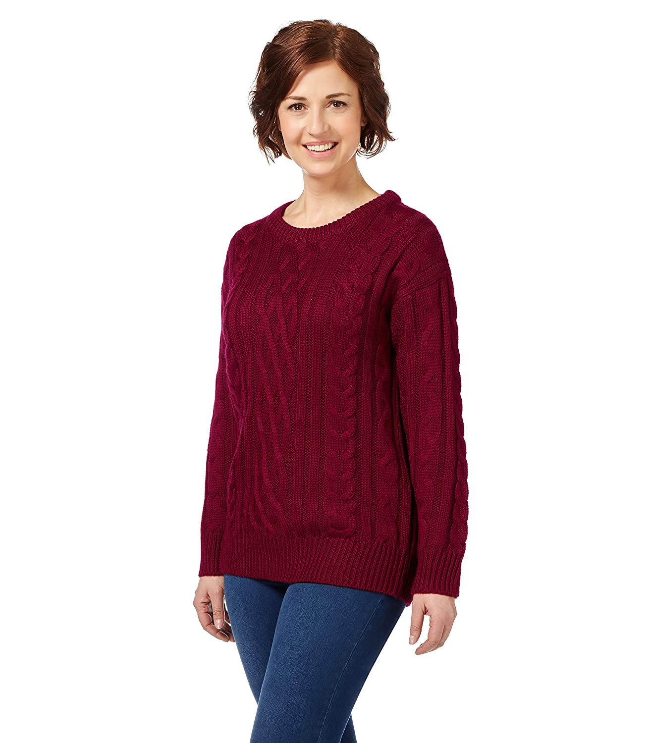 WoolOvers Aran Strick Pullover – Damen (Schurwolle) F10 burgundy Medium