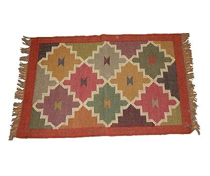 Amazon.com : iinfinize Indian Wool Jute Kilim Geometric ...