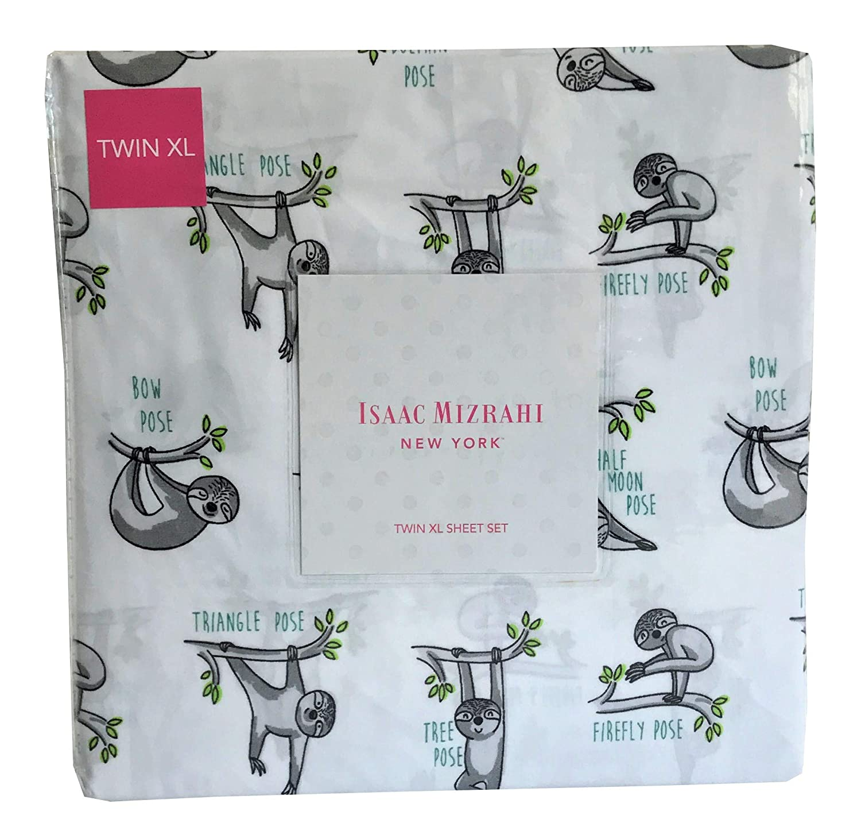 Isaac Mizrahi New York Twin XL Sheet Set Sloths Doing Yoga Poses