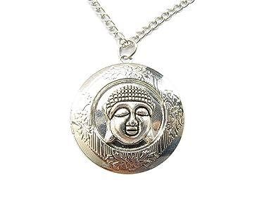Amazon buddha locket necklace buddha charm locket silver buddha locket necklace buddha charm locket silver happy buddha charm meditation buddhist jewelry mozeypictures Images