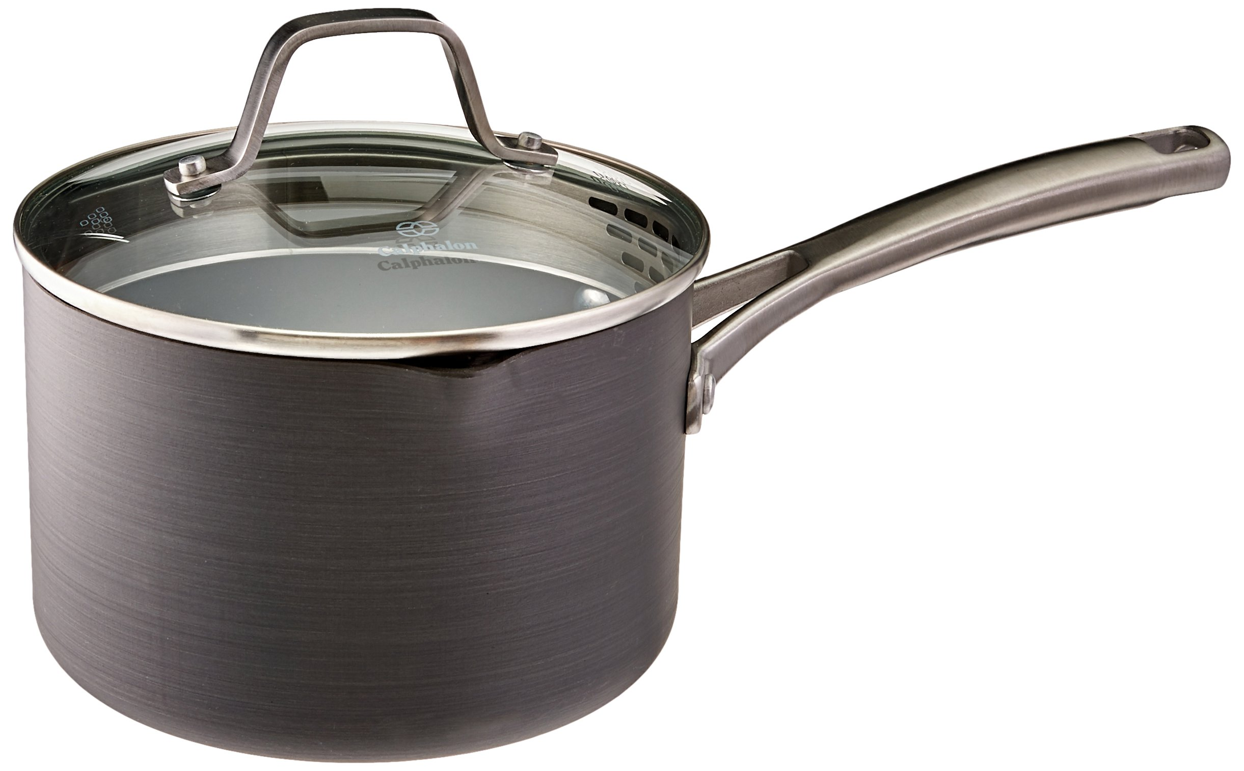 Calphalon Classic Nonstick Sauce Pan with Cover, 2.5 Quart, Grey
