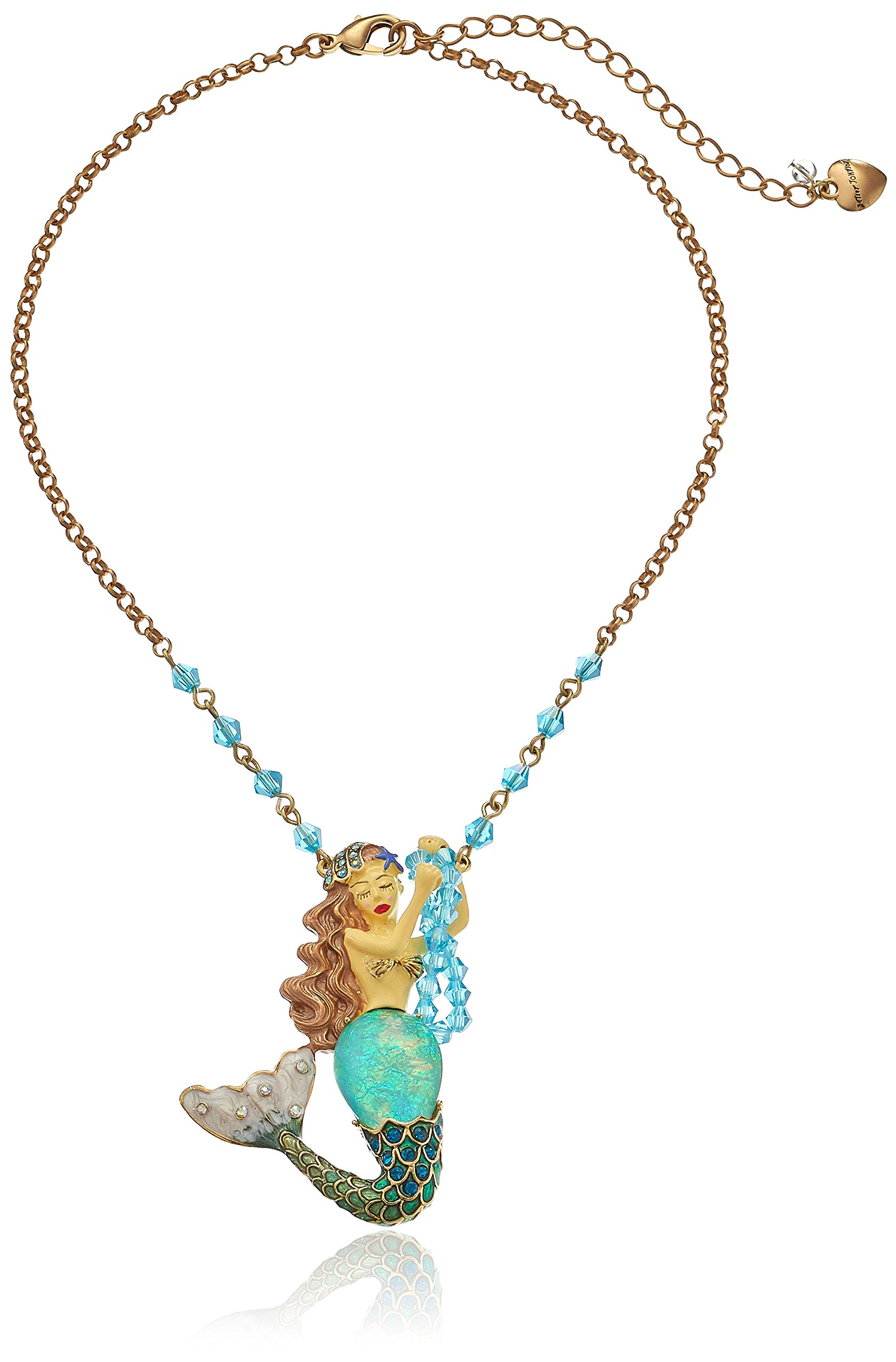 Betsey Johnson Into The Blue Mermaid Pendant Necklace, 18'' + 2'' Extender