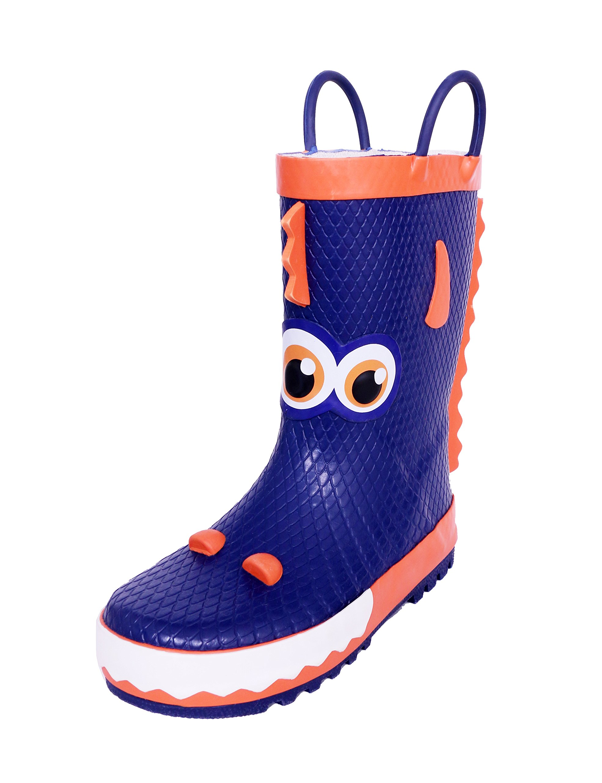 SHOFORT Kids Rainboots with Easy on Handles for Toddler Boys, Fun Prints Pattern, Size 9