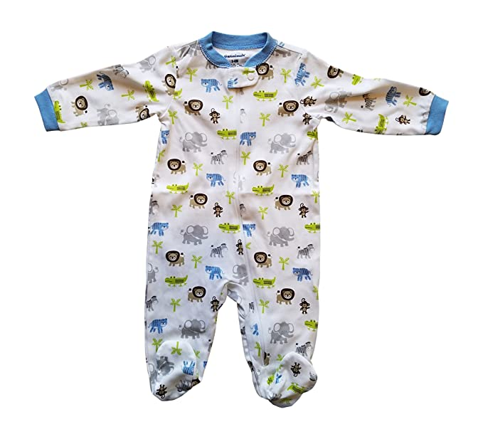 23b899f55597 Amazon.com  Baby Toddler Pajamas with Footies Jungle with Elephant ...