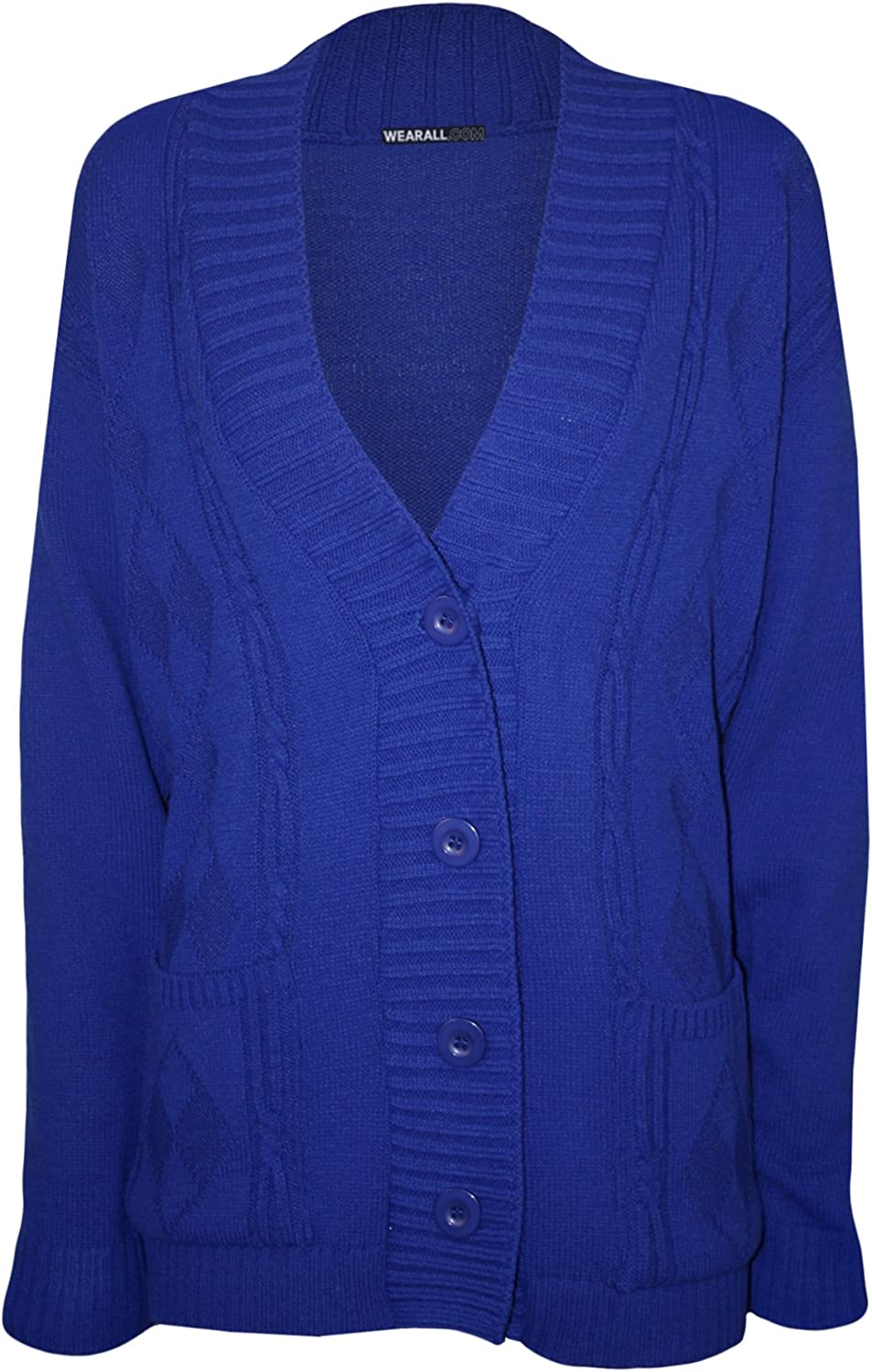 WearAll Plus Size Womens Button Long Sleeve Pocket Top Ladies Knitted Cardigan 14-20