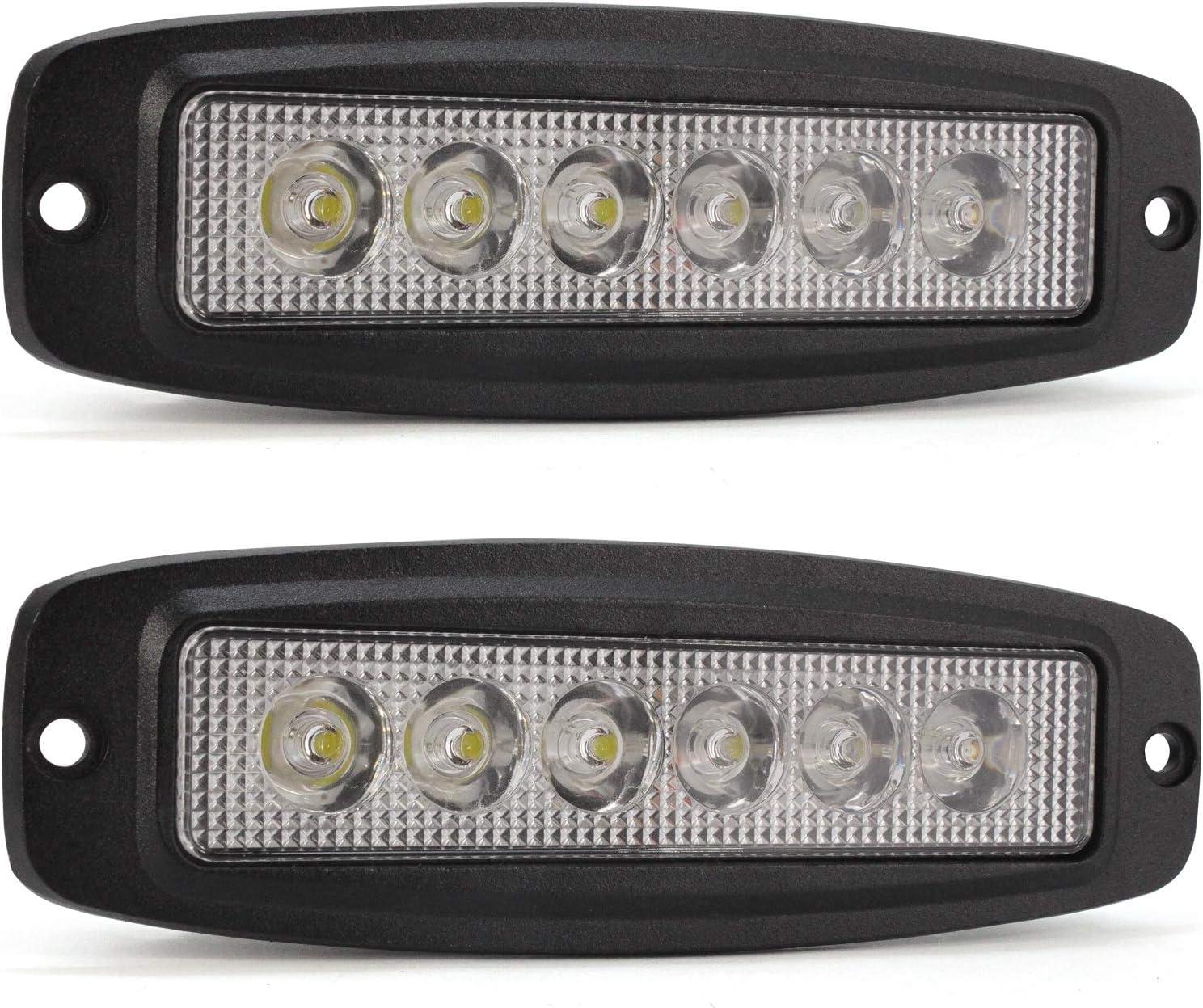 paquete de 2 YuanGu 18W Led barra de luz de trabajo Luz LED diurna delgada 12V 24V con 1800LMS 6000K para camiones de autom/óviles Barco SUV ATV J-e-e Offroad