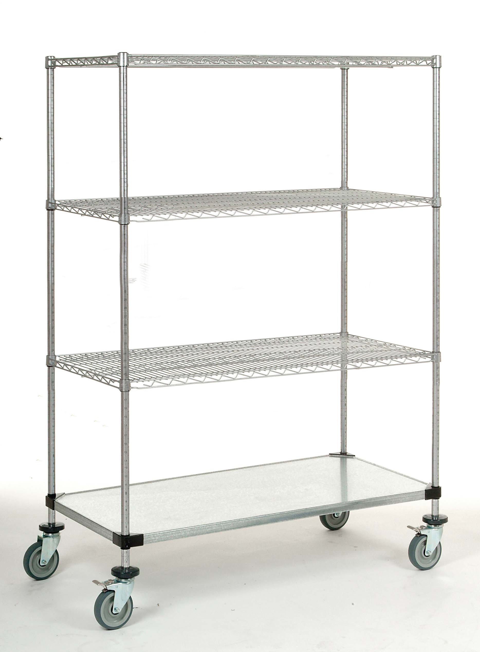 24'' x 60'' x 60'' Mobile Shelving Unit with an 800 lb Capacity, 3 Chrome Wire Shelves and 1 Galvanized Steel Shelf