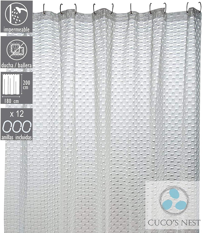 CUCOS NEST Rideau de douche EVA anti-moisissure Rideau de bain imperm/éable 180 x 200 cm Mod/èle : Bombay antibact/érien