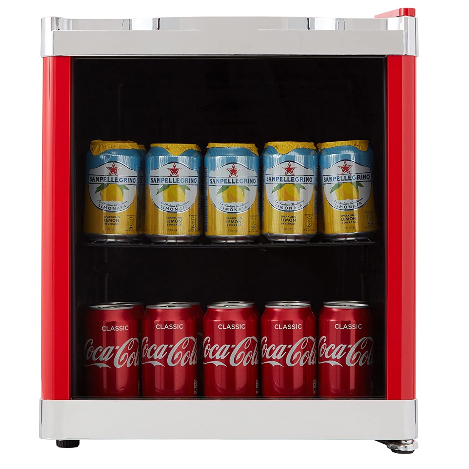 Cookology Red Table Top Drinks Fridge | MBC46RD Glass Door Mini Wine Bottle & Beverage Cooler
