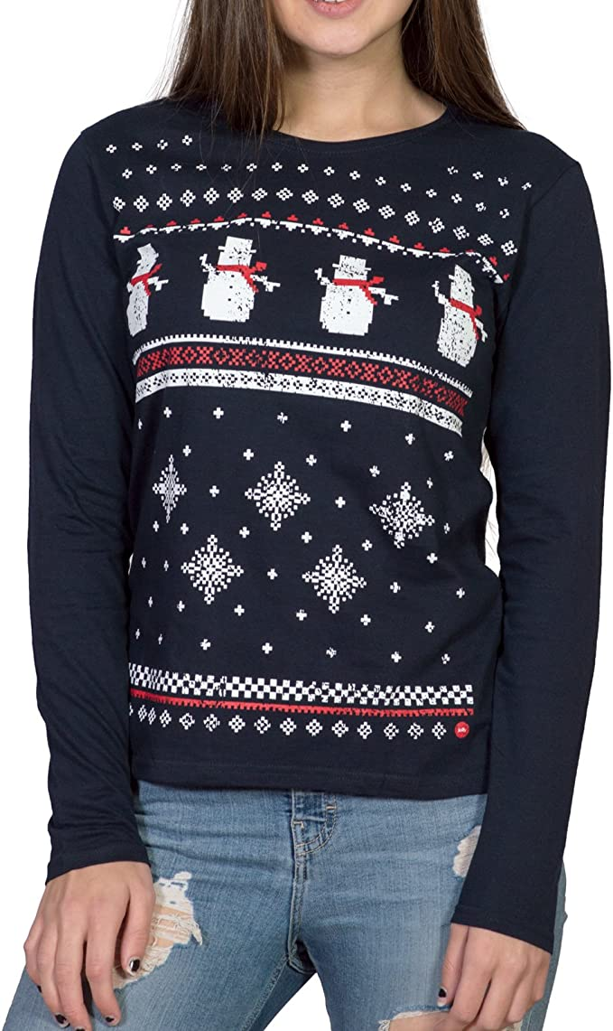 Mens Long Sleeved Snowman Tshirt Navy Comfy Alternative to The Christmas Jumper