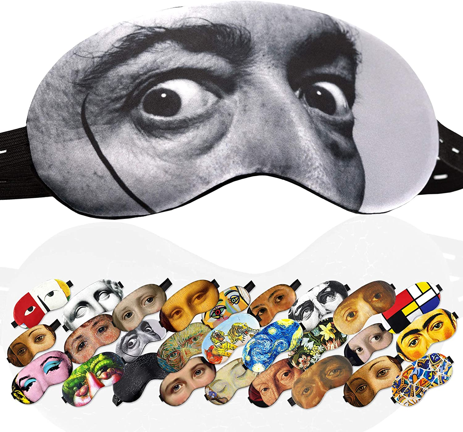 Sleep Mask for Men Masterpieses - 100% Soft Cotton - Comfortable Eye Sleeping Mask Night Cover Blindfoldfor Travel Airplane (Salvador DALI, Gift Pack)