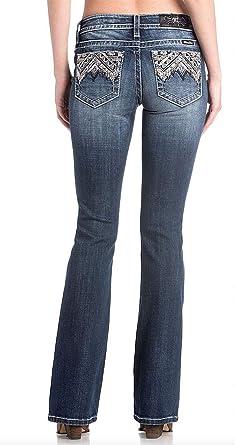 9fbc38a1b34 Miss Me Chloe Studded Embellished Mid Rise Dark Wash Boot Cut Women s Jeans  M3293B w