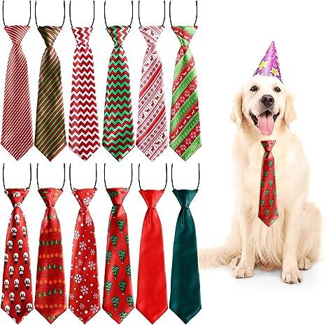 Syhood 12 Piezas Corbatas de Mascota Grande de Navidad Corbatas de ...