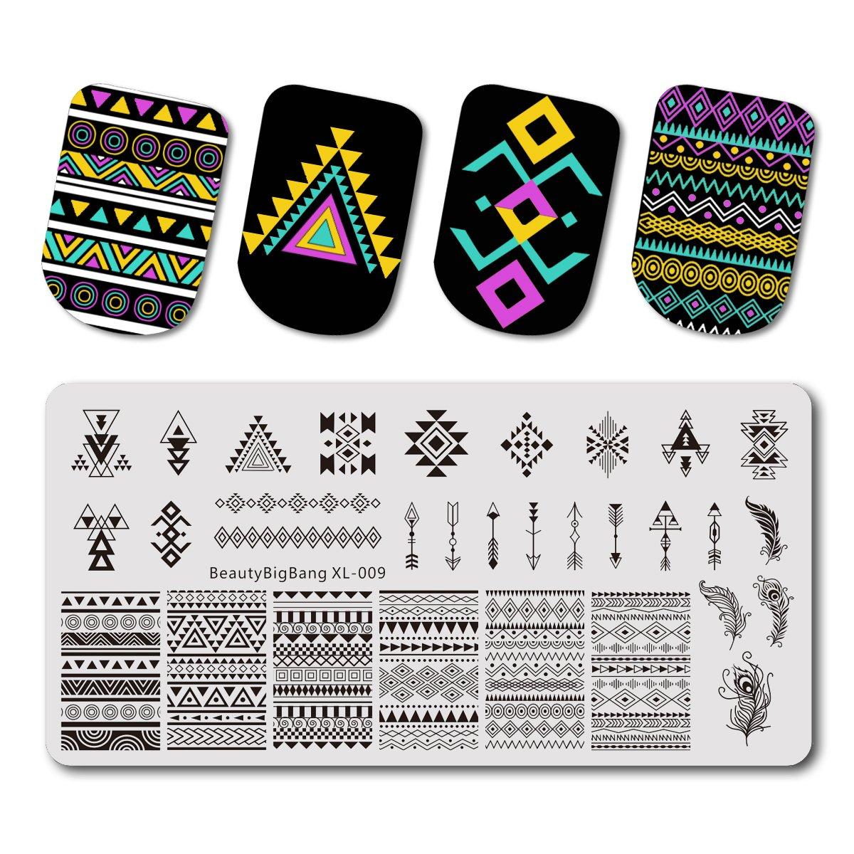 Beautybigbang Vernis à ongles stamping Image Plaques de modèles rétro Géométrie Ligne Nail Art Xl-009