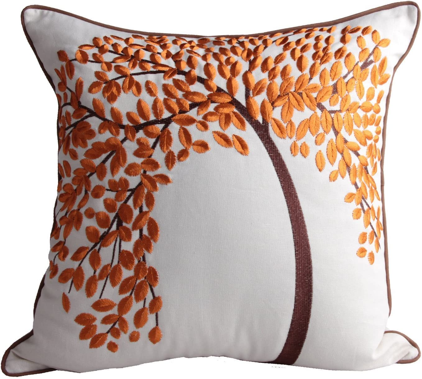 """2 X LUXURY FLORAL GOLD BROWN WITH PIPING Cushion Covers 18/""""x18/"""" 45cm x 45cm"""