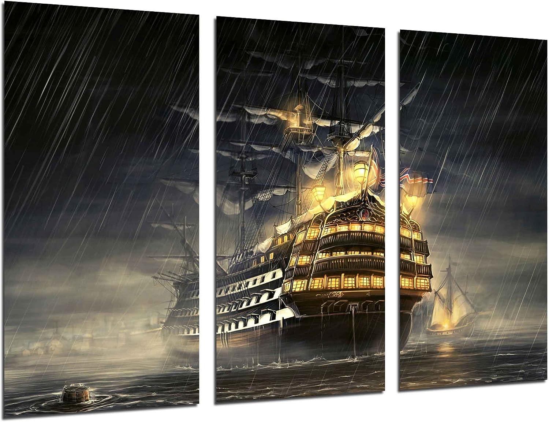 Cuadros Camara Fotográfico Barco Antiguo de Vela, Carabela, Guerra Tamaño total: 97 x 62 cm XXL, Multicolor