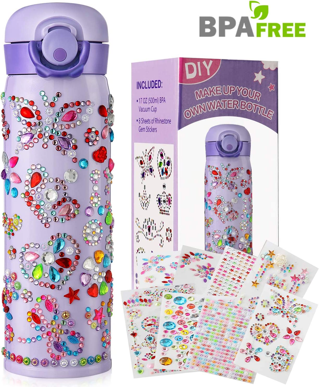 Gifts for Girls Decorate Your Own Water Bottles with Tons of Rhinestone Glitter Gem Stickers - Girls Toys DIY Arts and Crafts Set for Kids, BPA Free Stainless Steel Vacuum Insulated Mug (17 OZ)