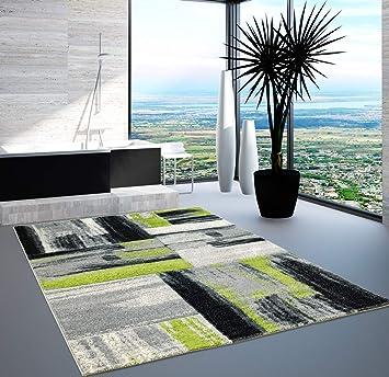 Carpet City Teppich Modern Designer Wohnzimmer Shake Farbverlauf Grün Grau  80x150 Cm