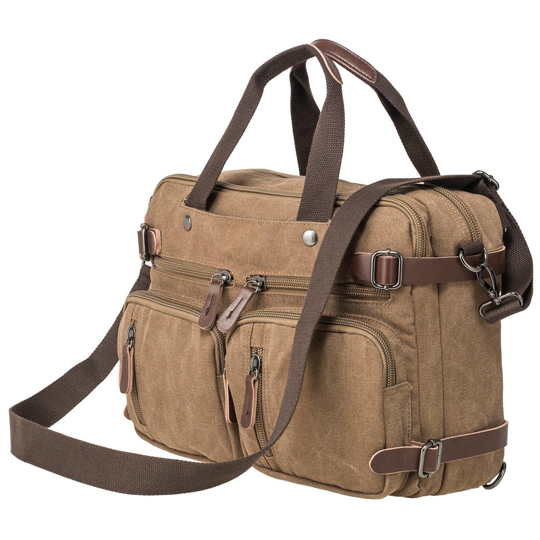 HIKA Vintage 3-Way Convertible Briefcase Laptop Backpack Messenger Bag Backpack-Vintage Brown