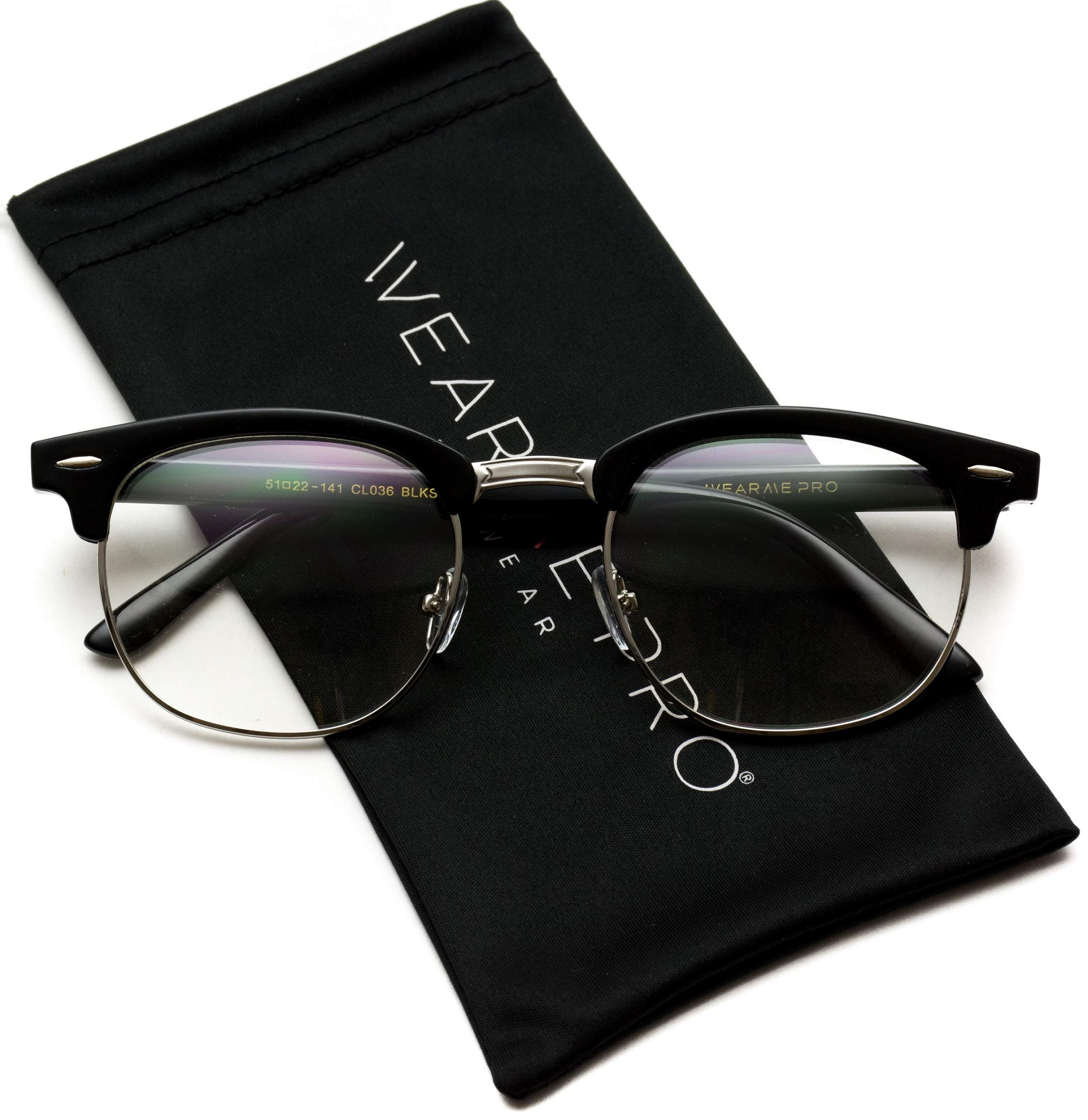 Vintage Inspired Classic Half Frame Horn Rimmed Clear Lens Glasses (Black Silver, 52) by WearMe Pro