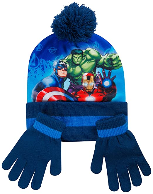 b3bb6b900bc Hat Scarf and Glove Set Kids Winter Accessories for Girls and Boys Paw  Patrol Marvel Avengers Spiderman Frozen Anna Elsa (Avengers)  Amazon.co.uk   Clothing