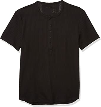 John Varvatos Star USA Mens Irving Short Sleeve Cotton Jacquard Rib Henley Henley Shirt